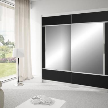 korpus: biały front: biały, czarne szkło, lustro