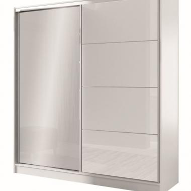 korpus: biały front: białe szkło, lustro