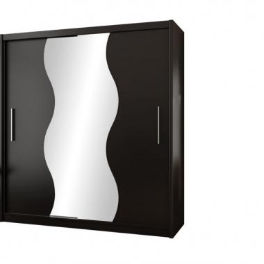 korpus: czarny mat, front: czarny mat, lustro